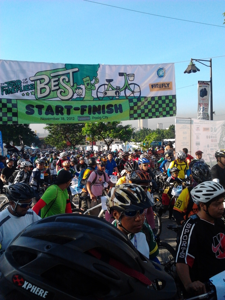 At the crowded start/finish chute.