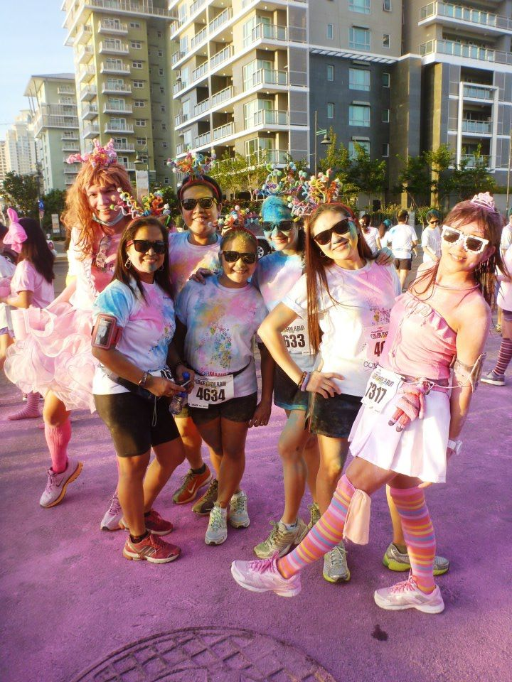 With fellow fab divas who opted to run and experience the colorific route!