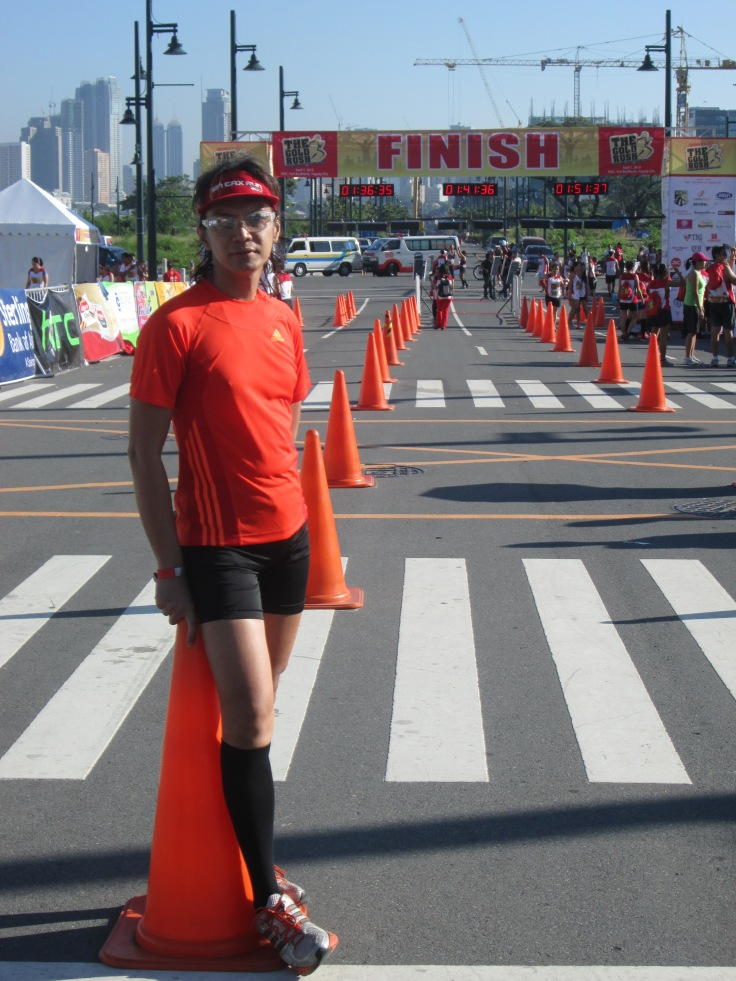 Posing by the finish line.