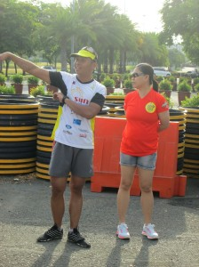 Don Ubaldo, AVP and head of Filinvest City seen here with Kulit Runner Vima Mendoza, giving us the run through of the trail course.