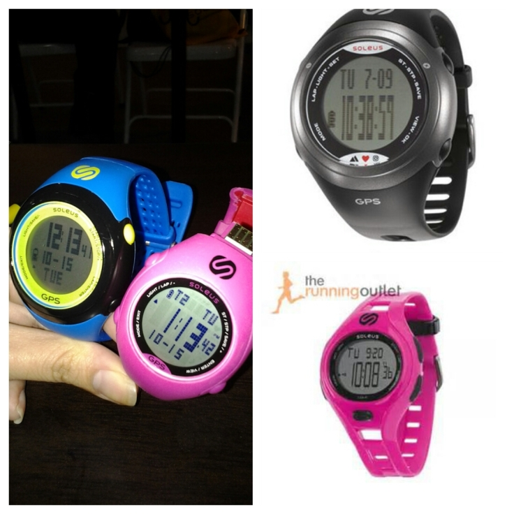 Clockwise: the Blue GPS Fit and Pink GPS Mini, the Tour, and the Pink Dash Small.