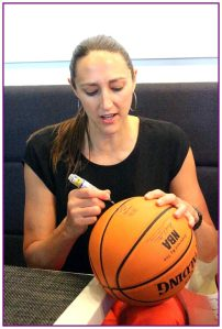 Ruth Riley doing some ball authograph signing during one of the National Selection Camp events.